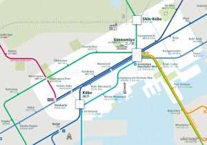 Kobe City Rail Map for train and public transportation  - Close-up