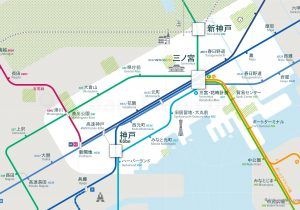 Kobe City Rail Map for train and public transportation  - Japanese