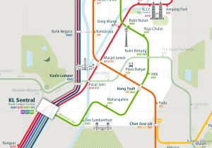 KualaLumpur City Rail Map for train and public transportation  - Close-up