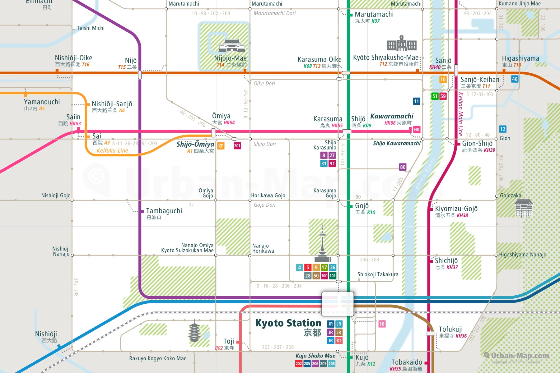 Kyoto City Rail Map shows the train and public transportation routes of Metro, Bus - Close-Up