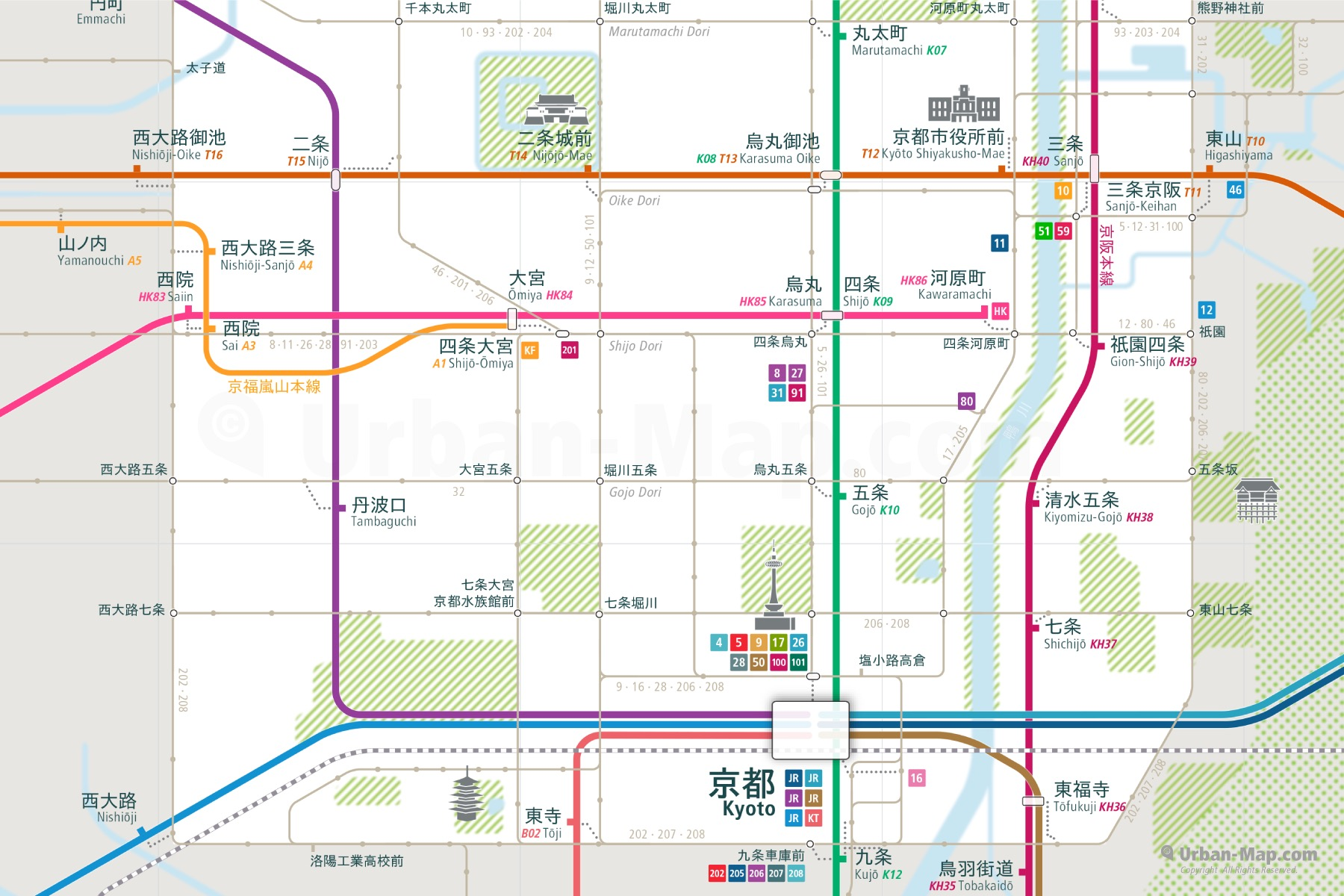 Kyoto Subway Map Vector.Kyoto Rail Map A Smart City Guide Map Even Offline