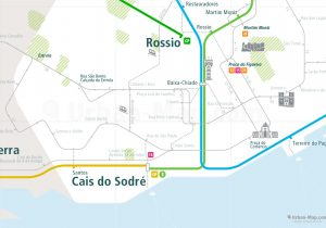 Lisbon City Rail Map shows the train and public transportation routes of metro, tram, commuter train - Close-Up