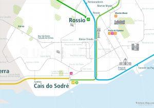 Lisbon City Rail Map shows the train and public transportation routes of metro, tram, commuter train - Close-Up