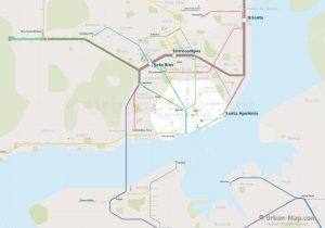 Lisbon City Rail Map for train and public transportation  - Overview