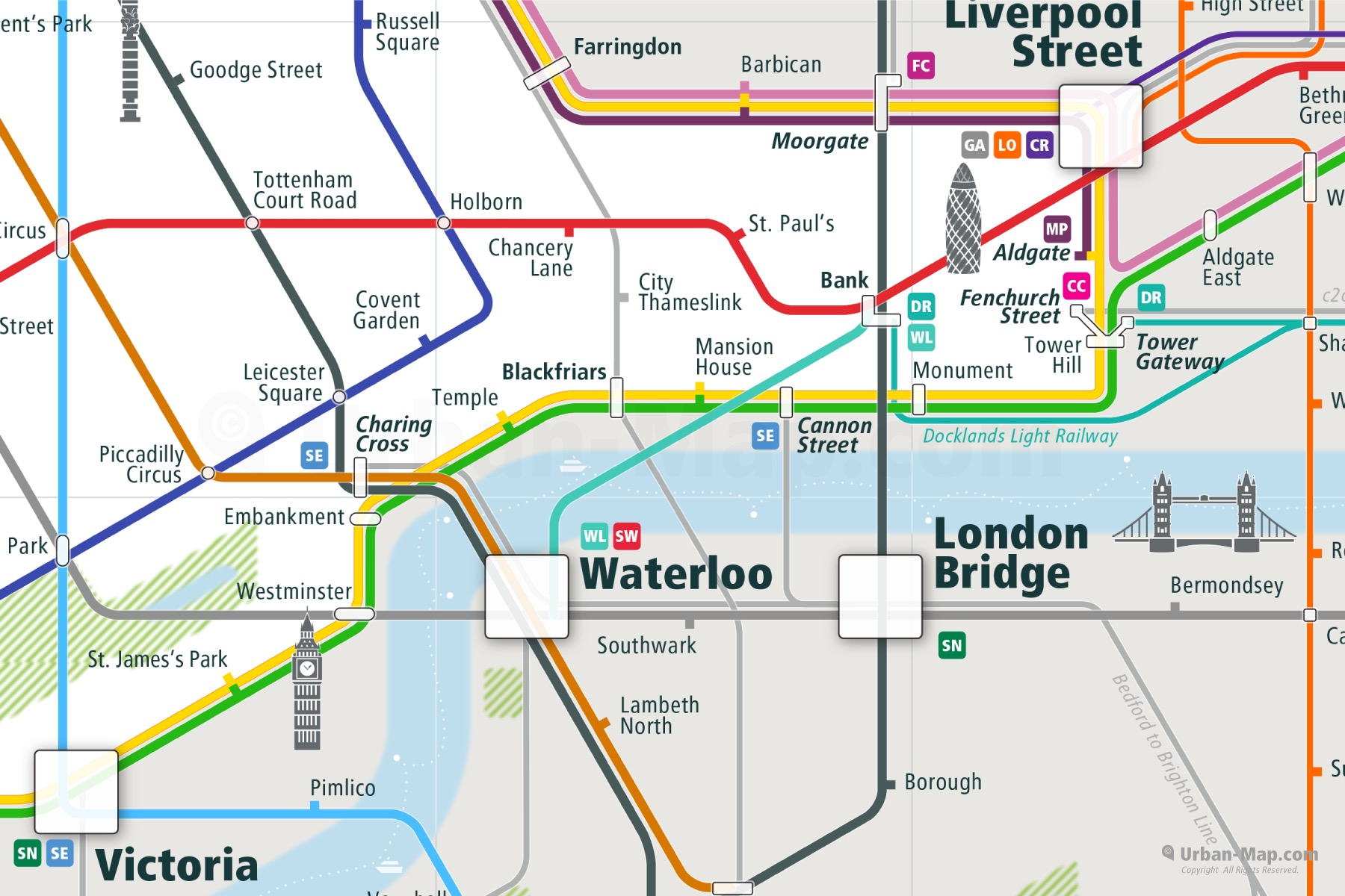 London City Rail Map shows the train and public transportation routes of Underground, commuter train - Close-Up