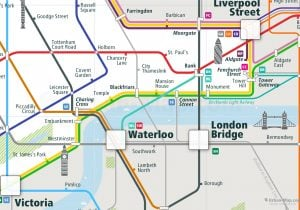 London City Rail Map for train and public transportation  - Close-up