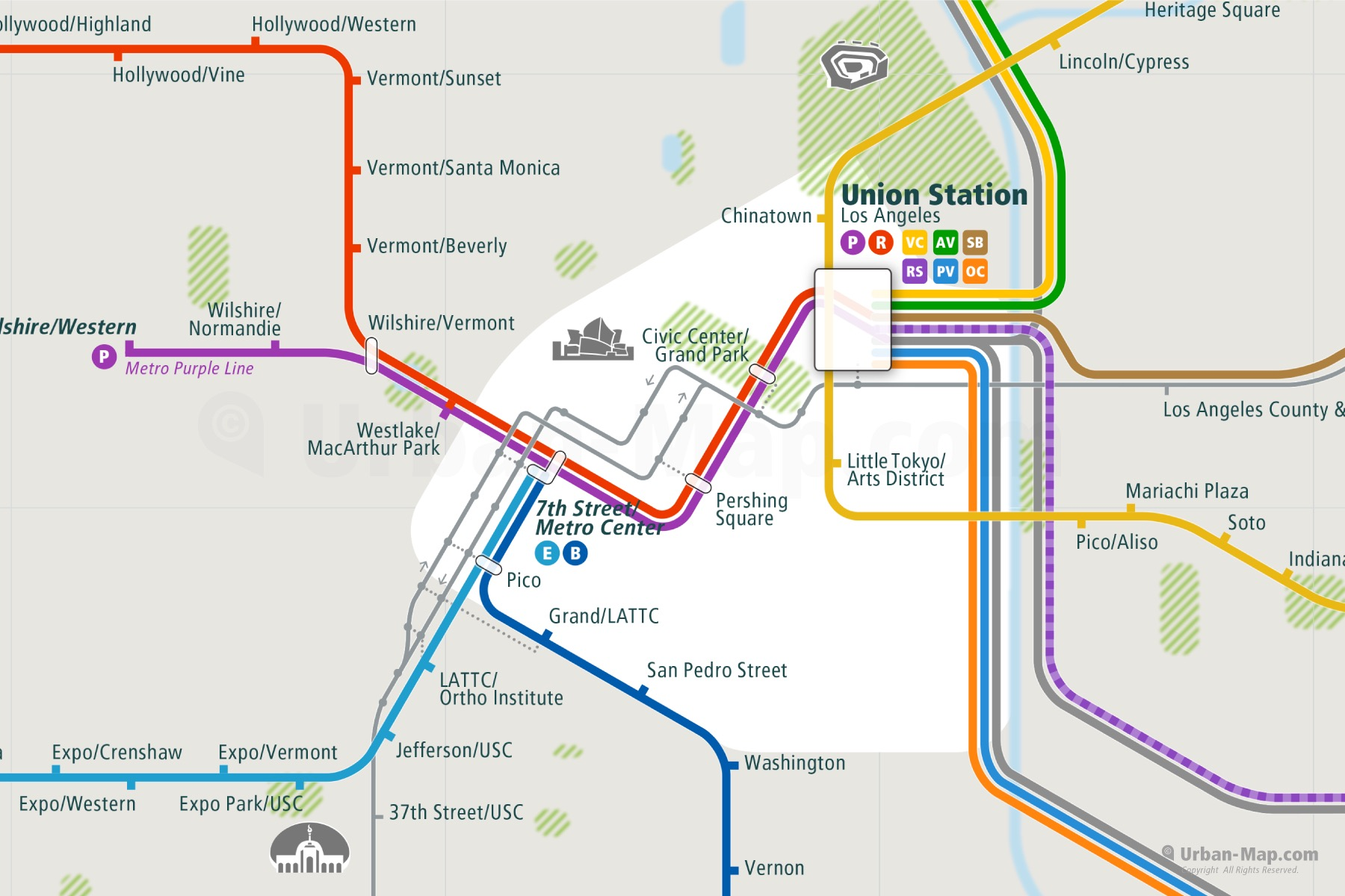 Los Angeles City Rail Map shows the train and public transportation routes of metro, BRT - Close-Up