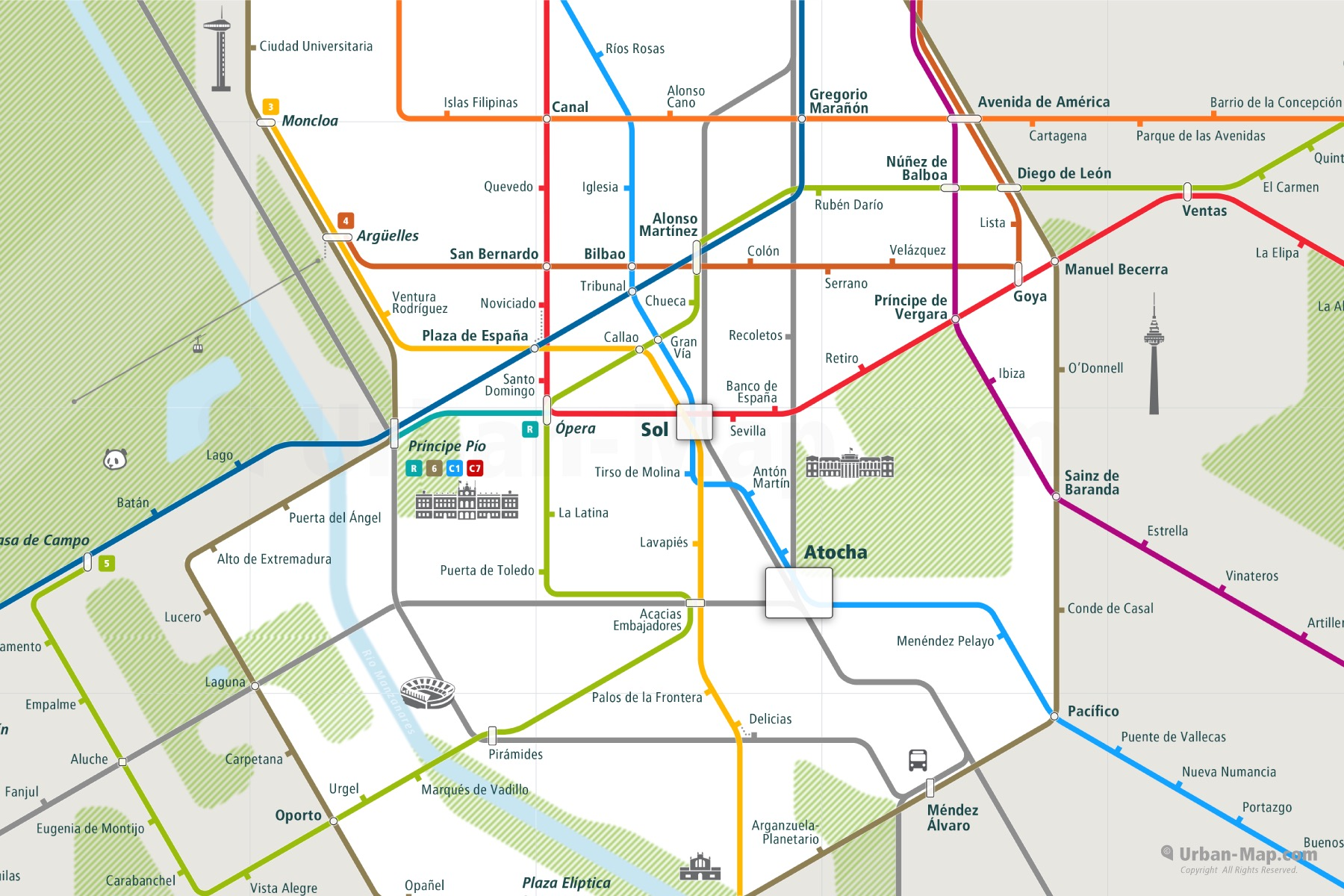 Madrid City Rail Map shows the train and public transportation routes of metro - Close-Up