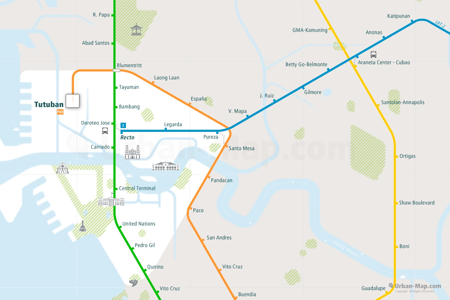 Manila City Rail Map shows the train and public transportation routes of metro - Close-Up