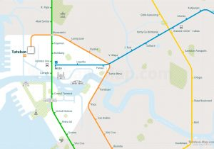 Manila City Rail Map for train and public transportation  - Close-up