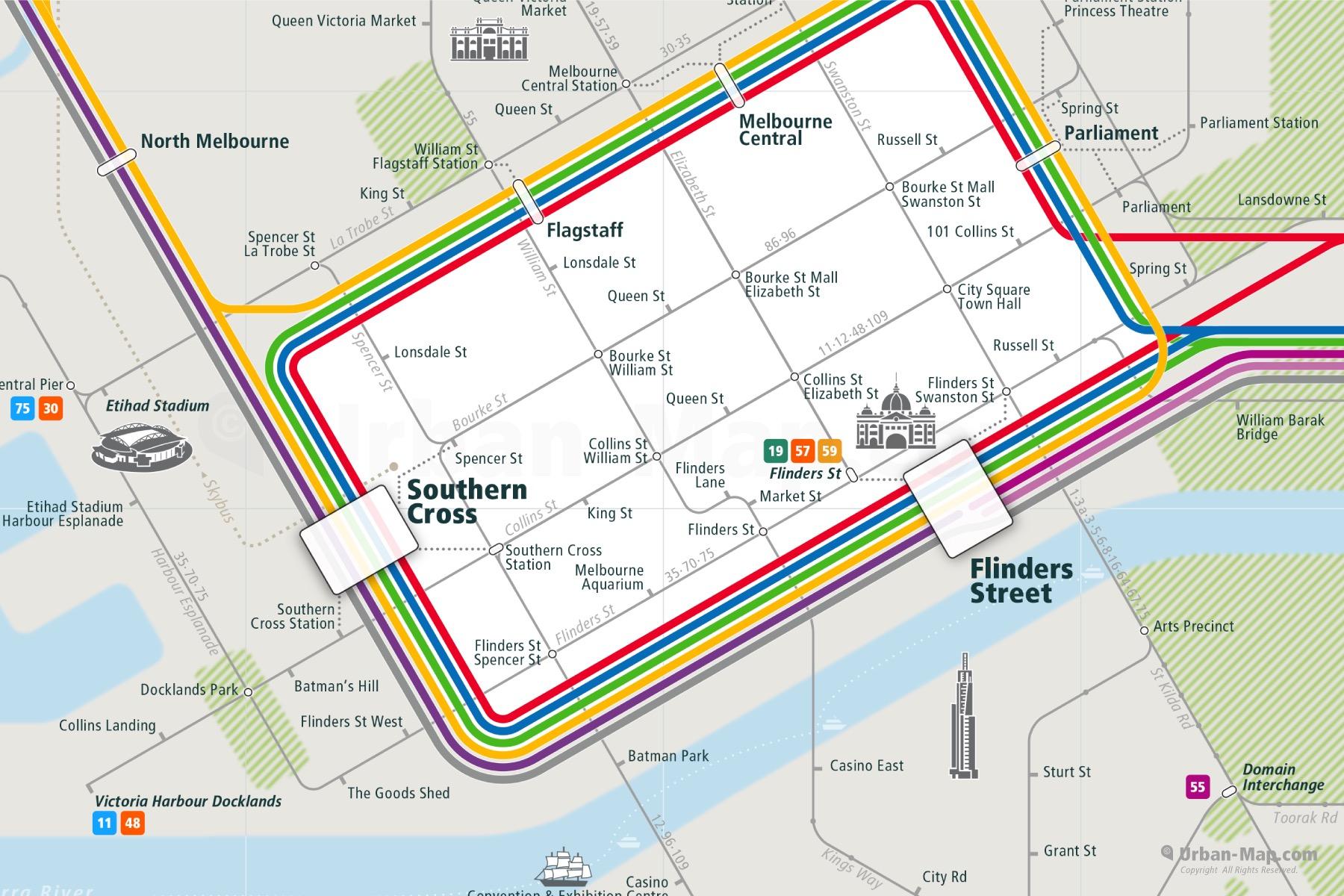 Melbourne City Rail Map shows the train and public transportation routes of tram, commuter train - Close-Up