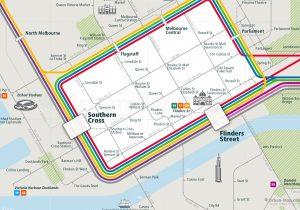 Melbourne City Rail Map for train and public transportation - Close-up