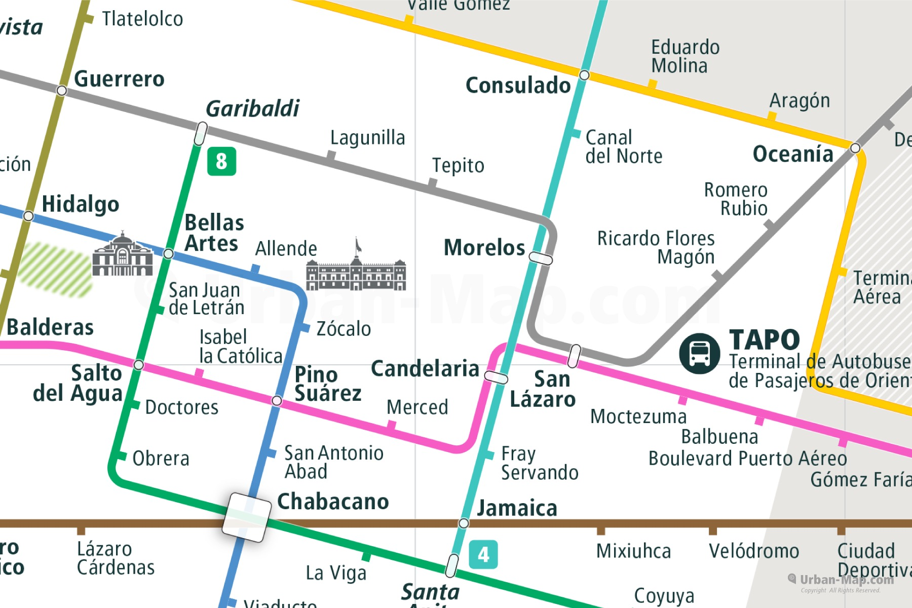 Mexico City Rail Map shows the train and public transportation routes of metro - Close-Up