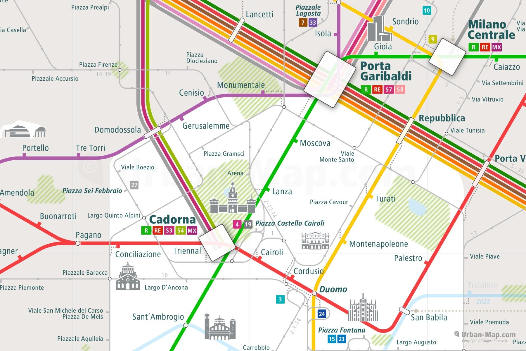 Milan City Rail Map shows the train and public transportation routes of metro, commuter train, tram - Close-Up
