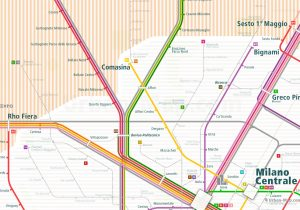 Milan City Rail Map for train and public transportation  - Farezone