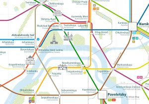 Moscow City Rail Map shows the train and public transportation routes of Metro, Tram, Airport Link, Ferry, Commuter Train - Close-Up
