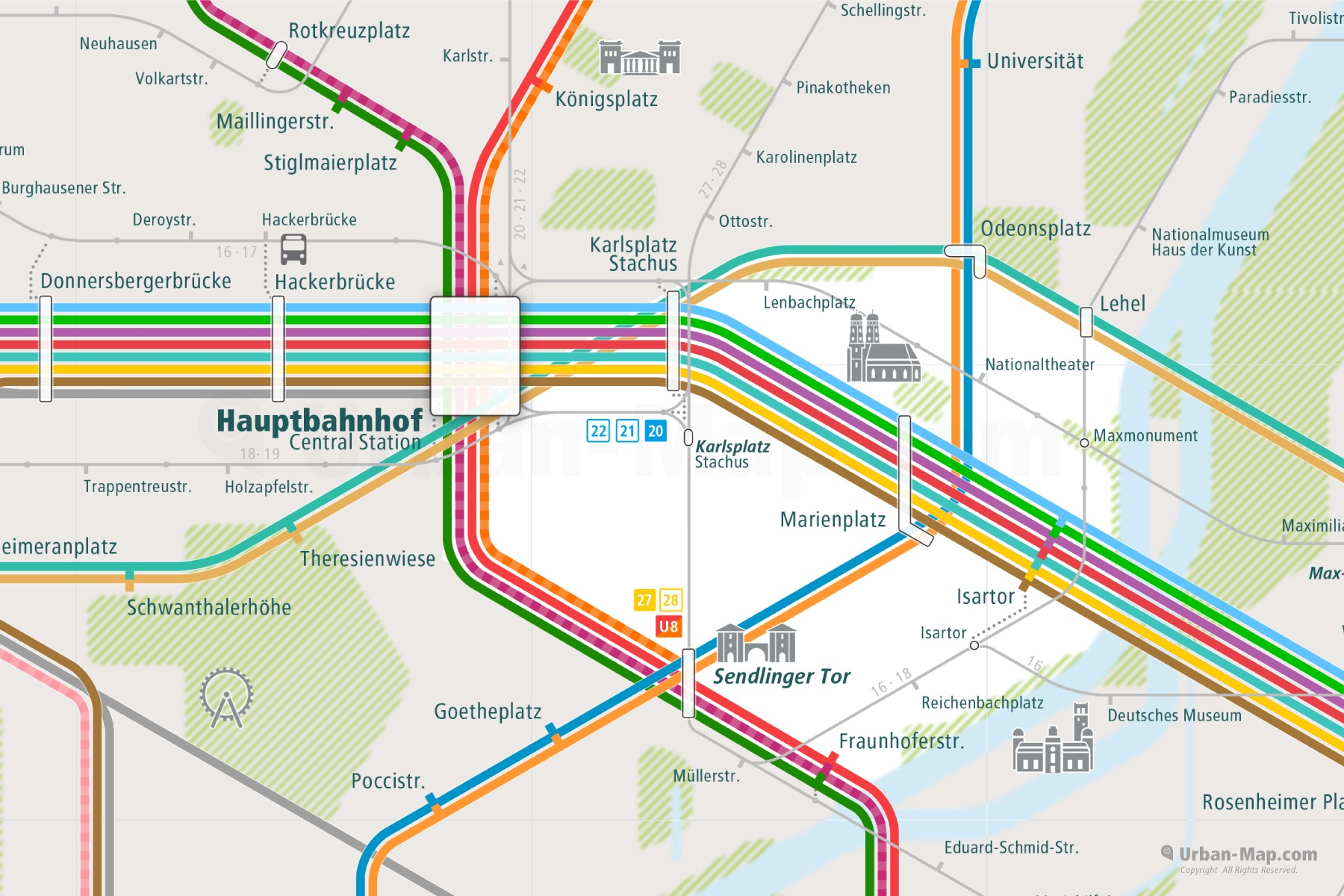 Munich City Rail Map shows the train and public transportation routes of - Close-Up