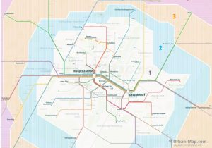 Munich City Rail Map for train and public transportation  - Farezone Overview