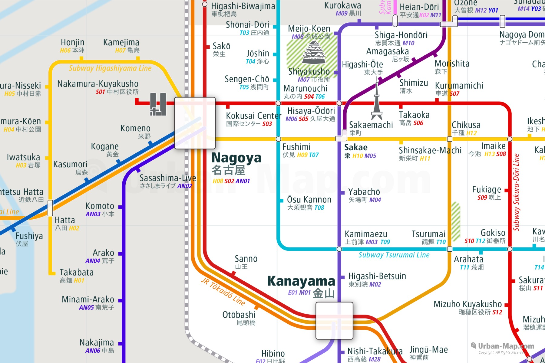 Nagoya City Rail Map shows the train and public transportation routes of