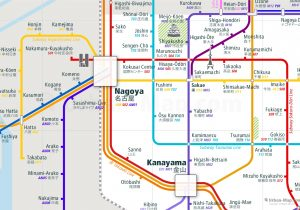 Nagoya City Rail Map for train and public transportation  - Close-up