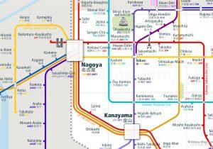 Nagoya City Rail Map for train and public transportation - Close-up