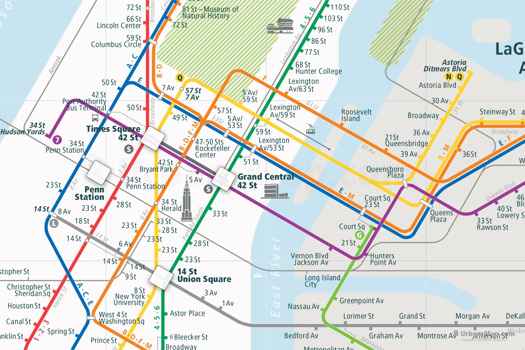New York City Rail Map shows the train and public transportation routes of Subway - Close-Up