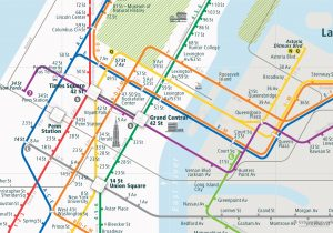 NewYork City Rail Map for train and public transportation - Close-up