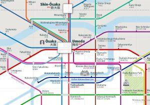 Osaka City Rail Map for train and public transportation - Close-up