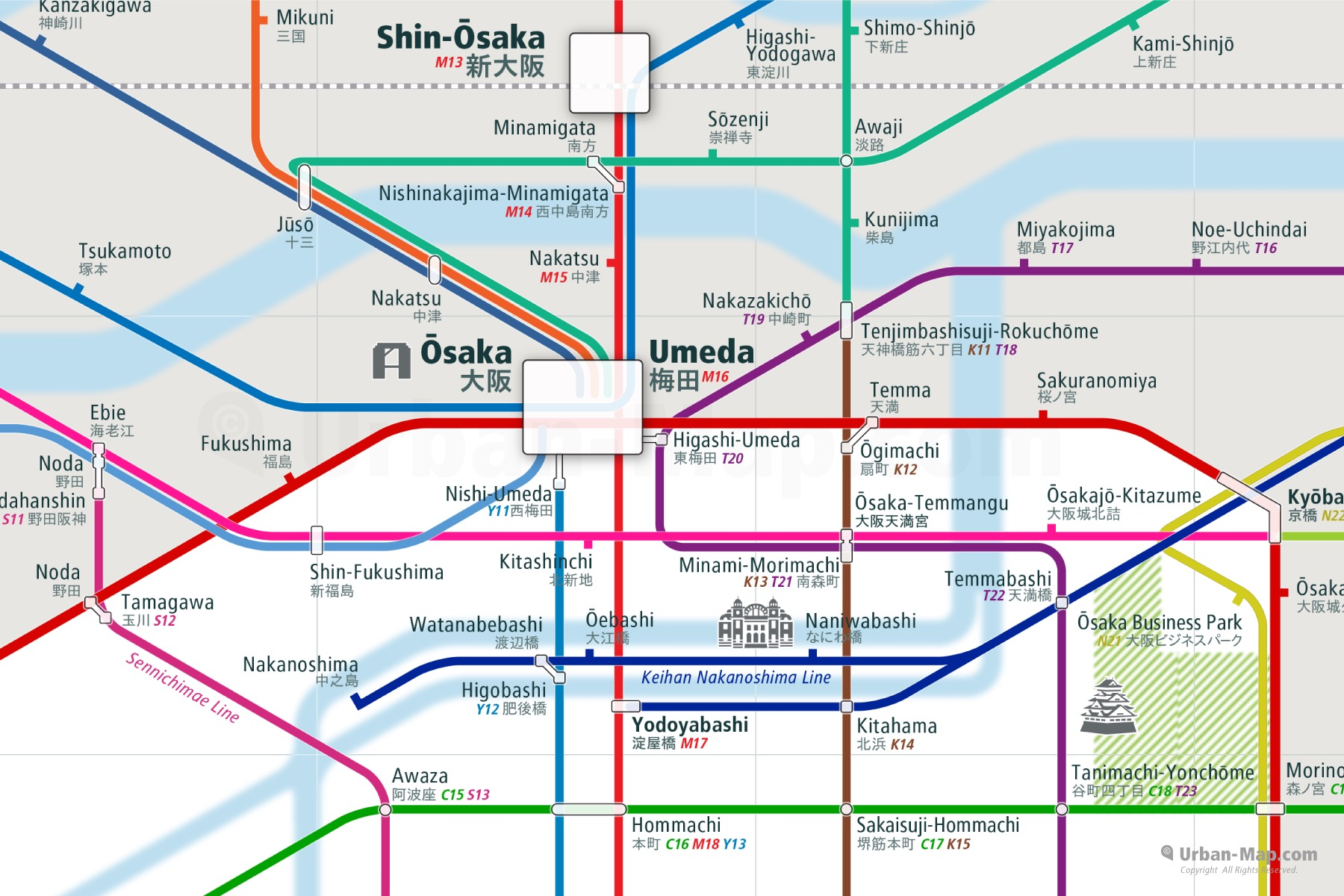 Osaka Rail And Subway Map.Osaka Rail Map A Smart City Guide Map Even Offline