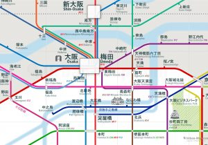 Osaka City Rail Map Japanese shows the train and public transportation routes of Subway, JR West, Hankyu, Hanshin, Keihan - Close-Up