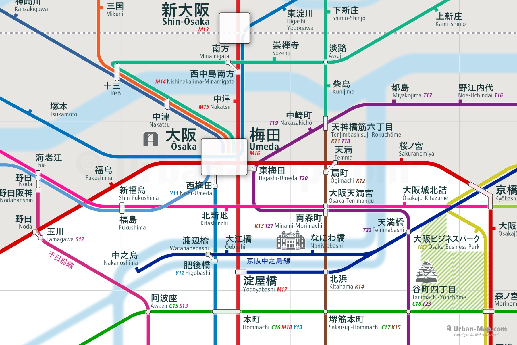 Osaka City Rail Map Japanese shows the train and public transportation routes of Subway, JR West, Hankyu, Hanshin, Keihan - Close-Up