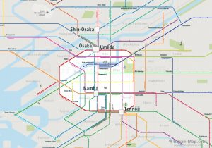Osaka City Rail Map for train and public transportation  - Overview