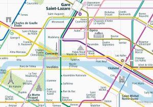 Paris City Rail Map shows the train and public transportation routes of - Close-Up