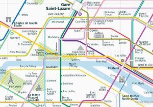 Paris City Rail Map for train and public transportation  - Close-up