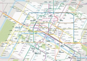 Paris City Rail Map for train and public transportation  - Overview