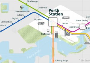 Perth City Rail Map for train and public transportation  - Perth