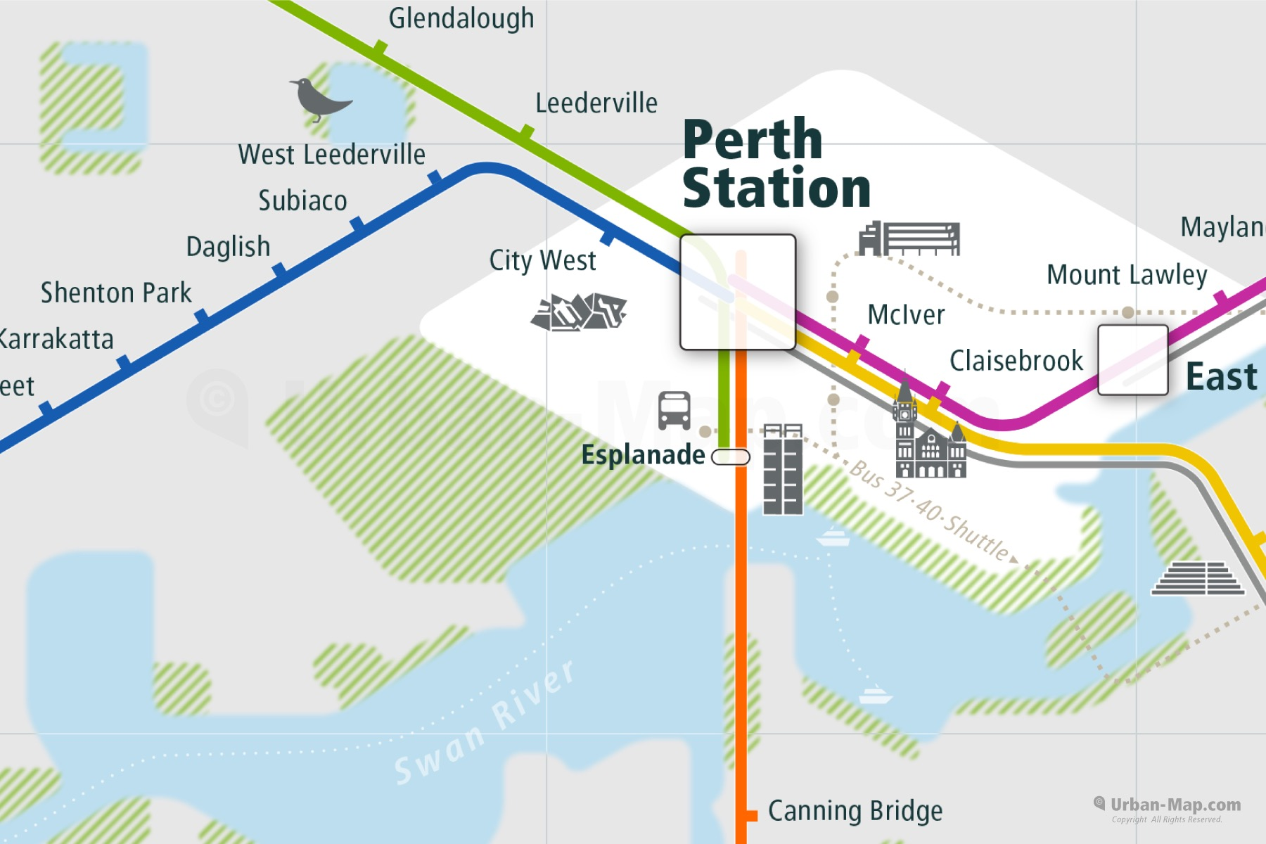 Perth City Rail Map shows the train and public transportation routes of - Close-Up