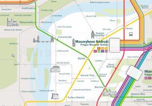 Prague City Rail Map for train and public transportation - Close-up