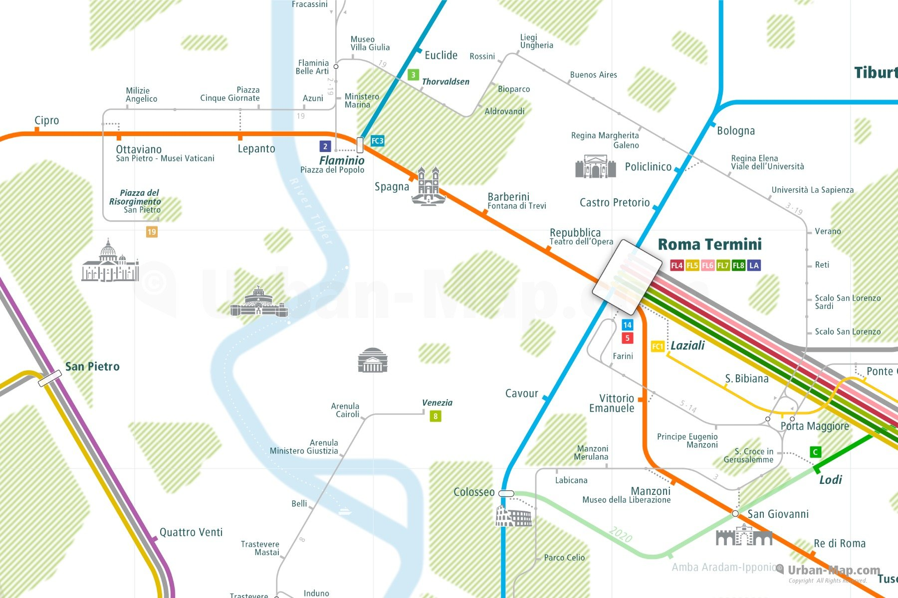 Rome City Rail Map shows the train and public transportation routes of - Close-Up