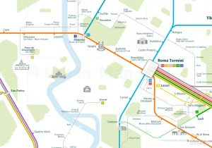Rome City Rail Map for train and public transportation - Close-up