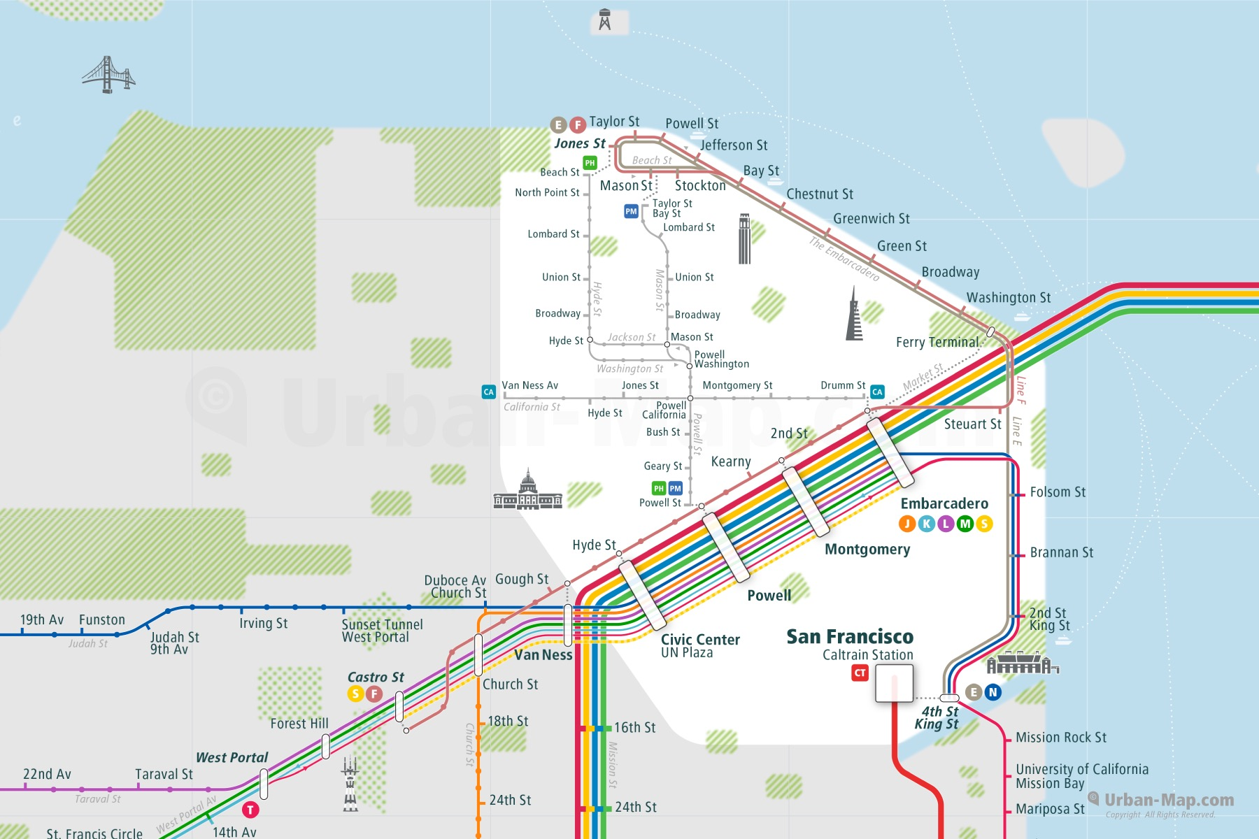 San Francisco City Rail Map shows the train and public transportation routes of - Close-Up