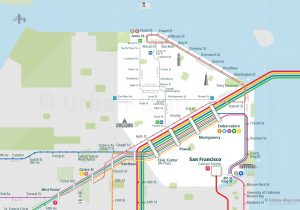 SanFrancisco City Rail Map for train and public transportation  - Close-up
