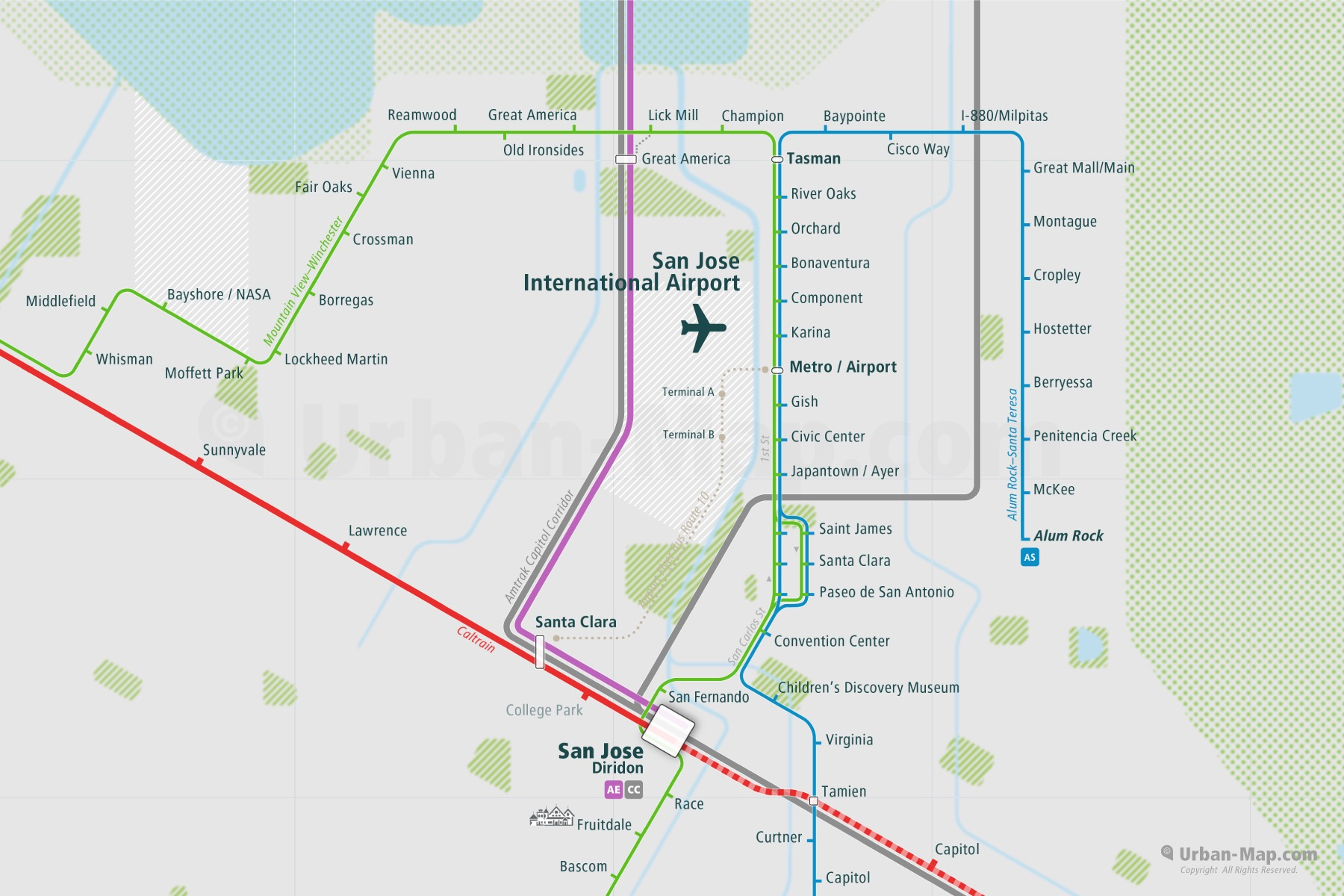 San Jose City Rail Map shows the train and public transportation routes of