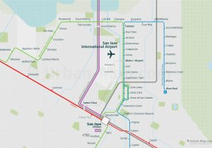 SanFrancisco City Rail Map for train and public transportation  - San Jose