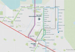 SanFrancisco City Rail Map for train and public transportation - San Jose