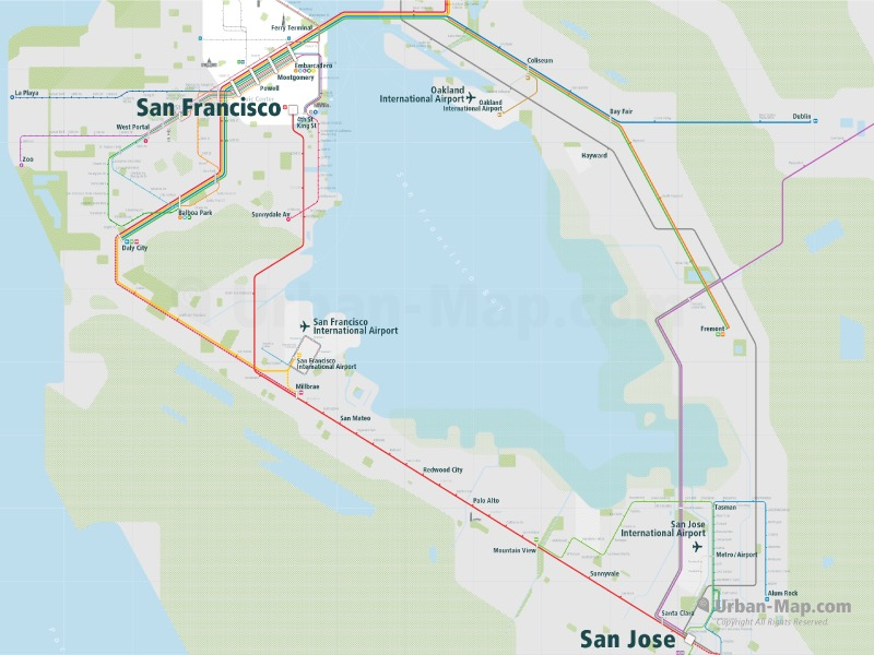 San Jose And San Francisco Map.San Francisco Rail Map A Smart City Guide Map Even Offline
