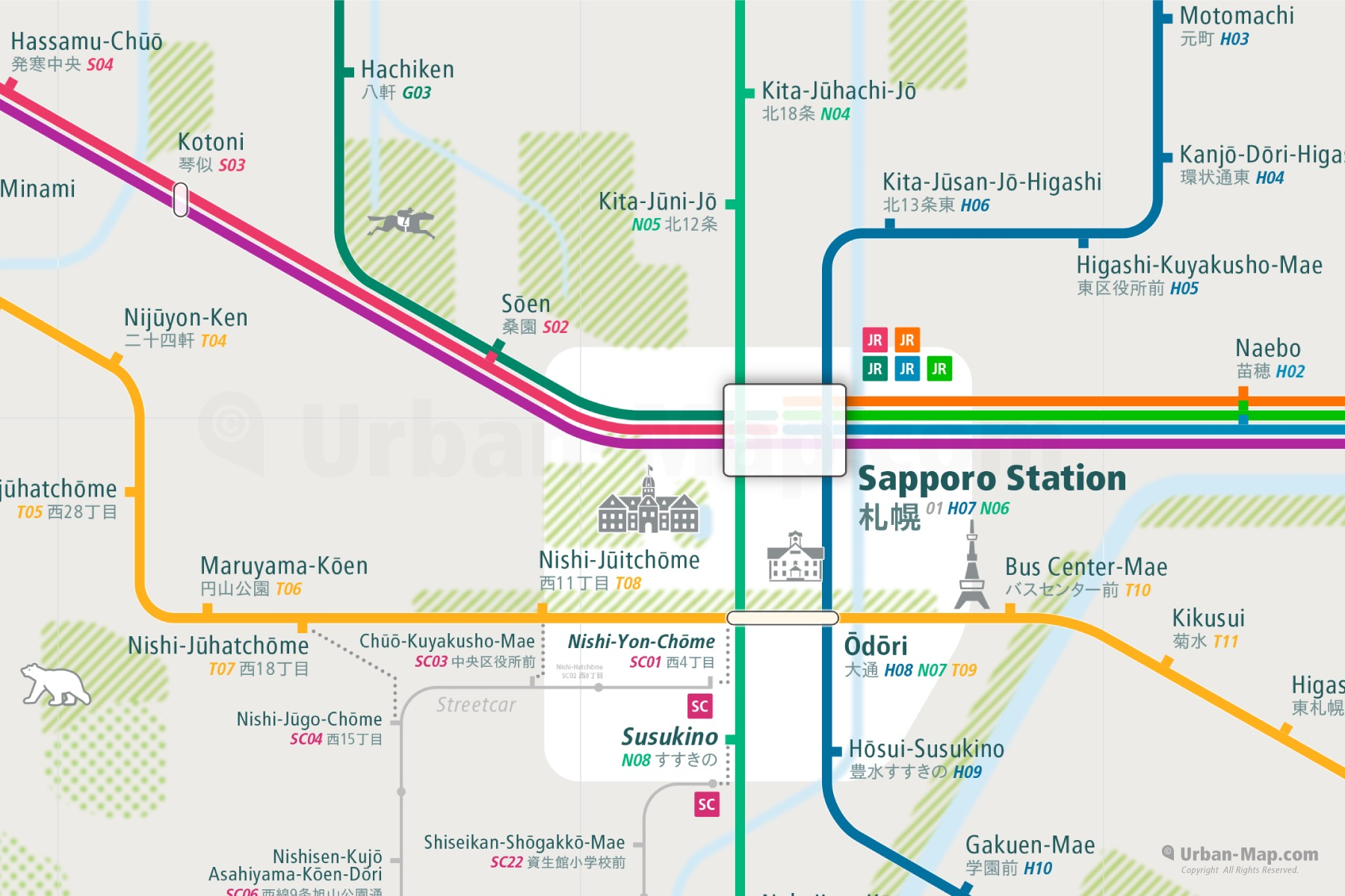 Sapporo City Rail Map shows the train and public transportation routes of - Close-Up