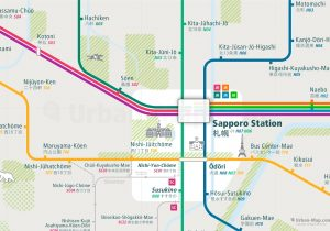 Sapporo City Rail Map for train and public transportation - Close-up