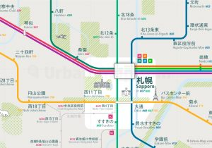 Sapporo City Rail Map for train and public transportation - Japanese