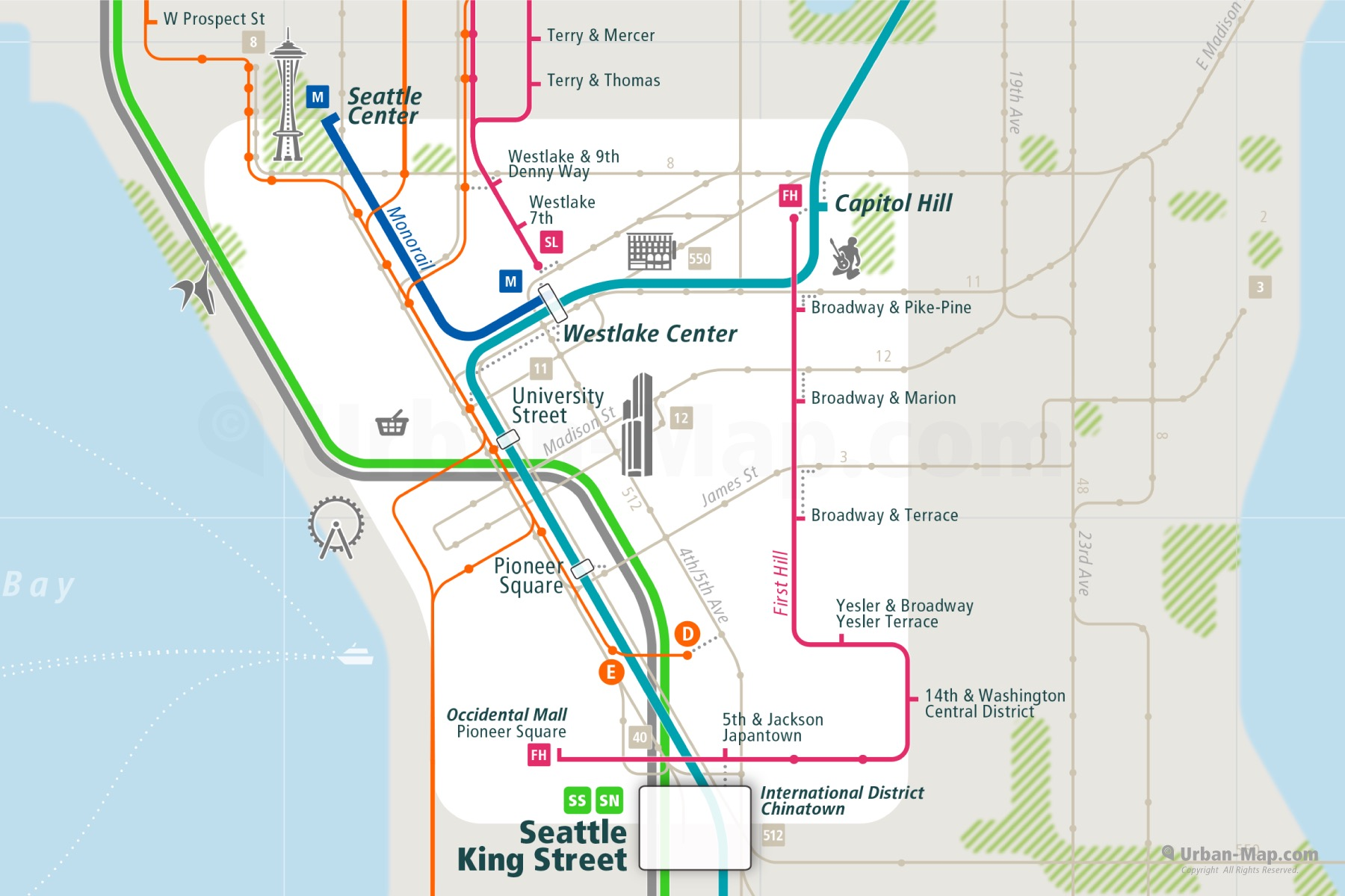 Seattle City Rail Map shows the train and public transportation routes of RapidRide BTR bus rapid transit, bus, monorail, commuter train - Close-Up